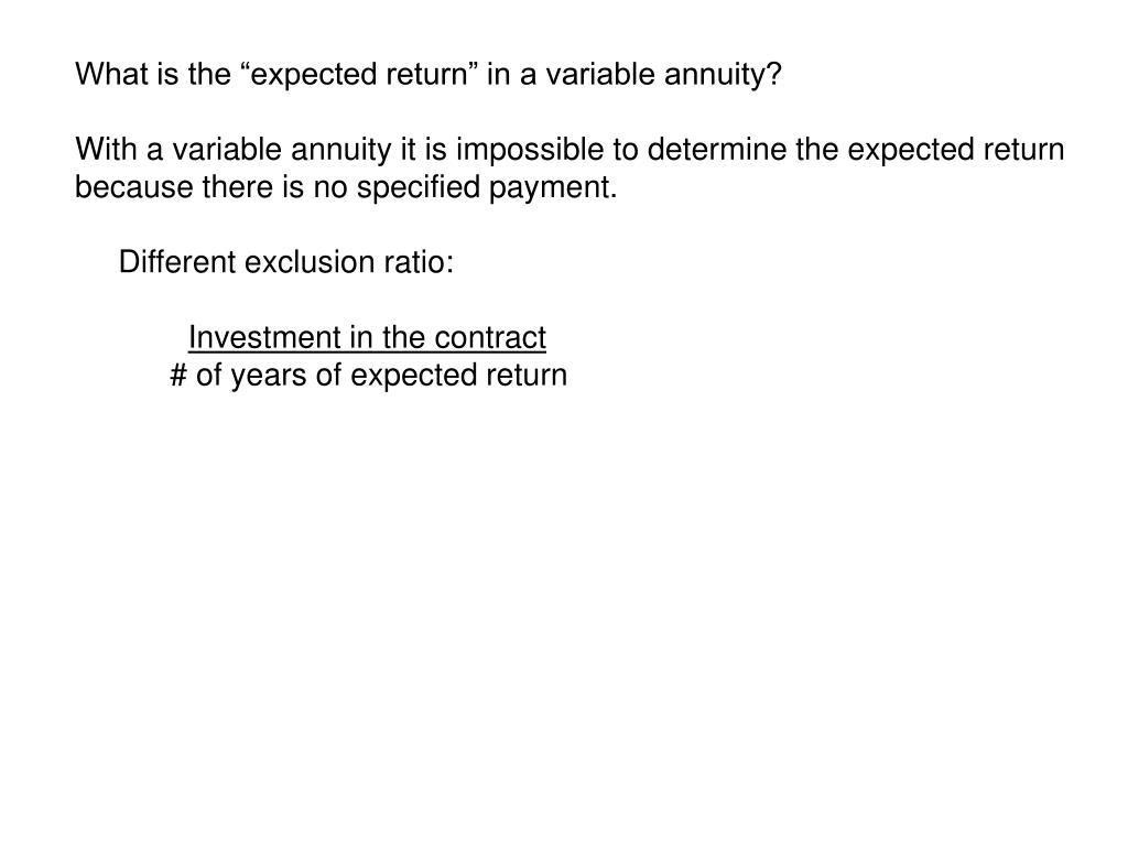 "What is the ""expected return"" in a variable annuity?"