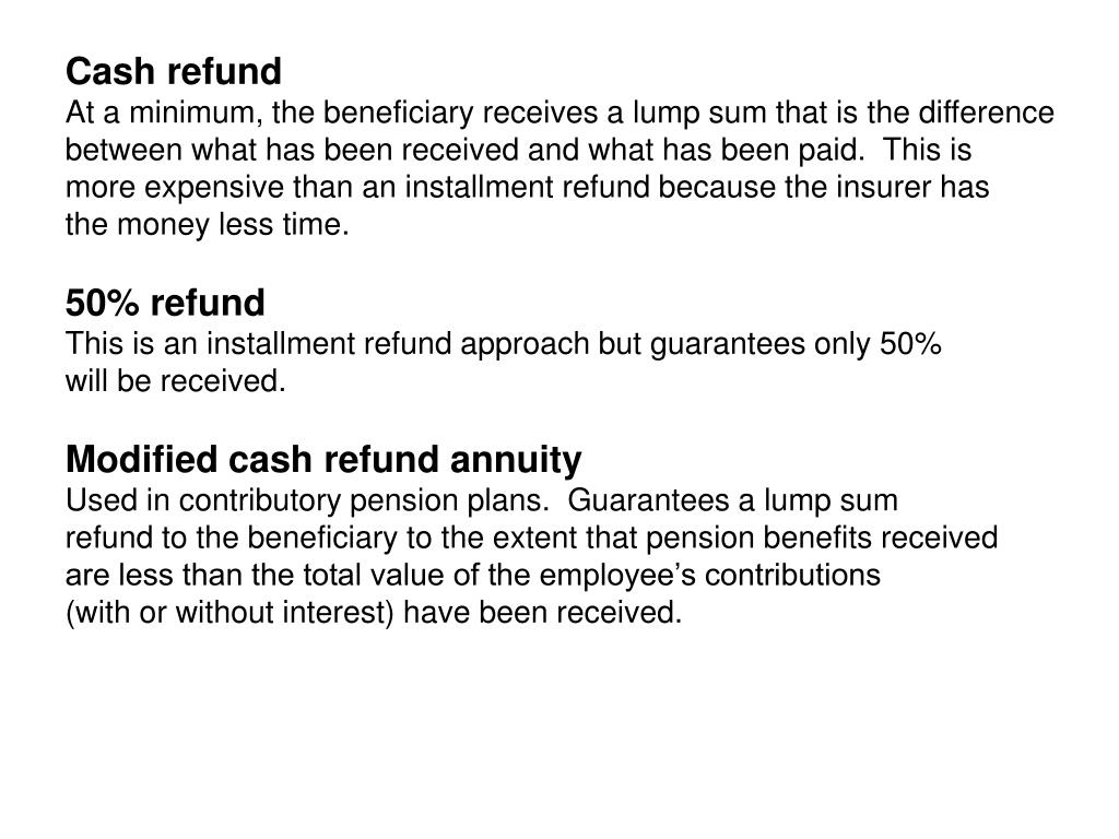 Cash refund