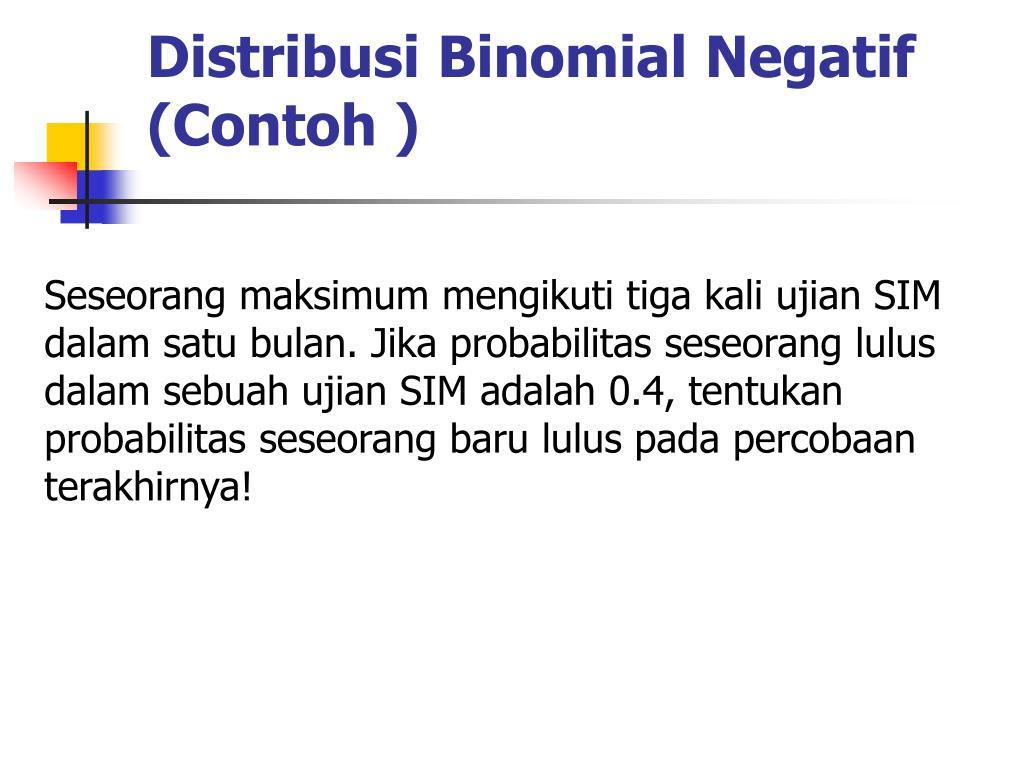 Distribusi Binomial Negatif (Contoh )