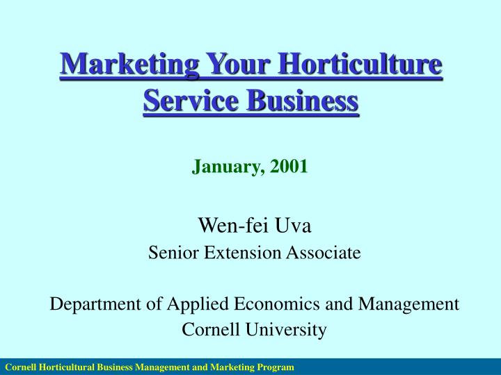 Marketing Your Horticulture Service Business