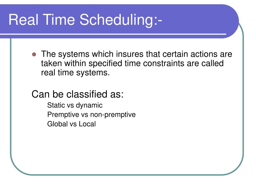 Real Time Scheduling:-