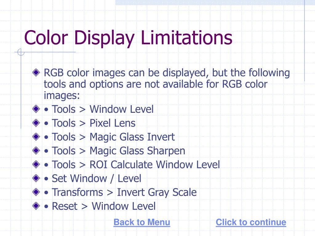 Color Display Limitations
