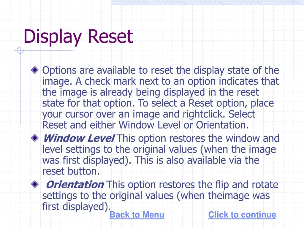 Display Reset