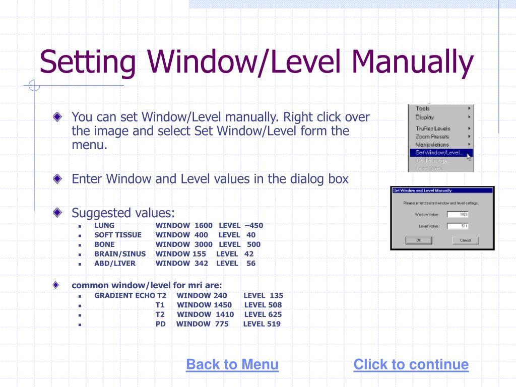 Setting Window/Level Manually