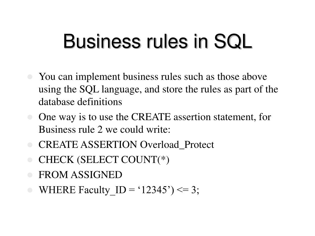 Business rules in SQL