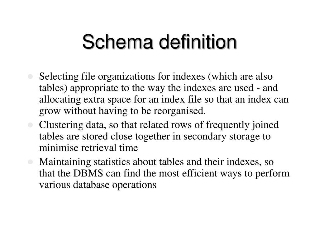 Schema definition
