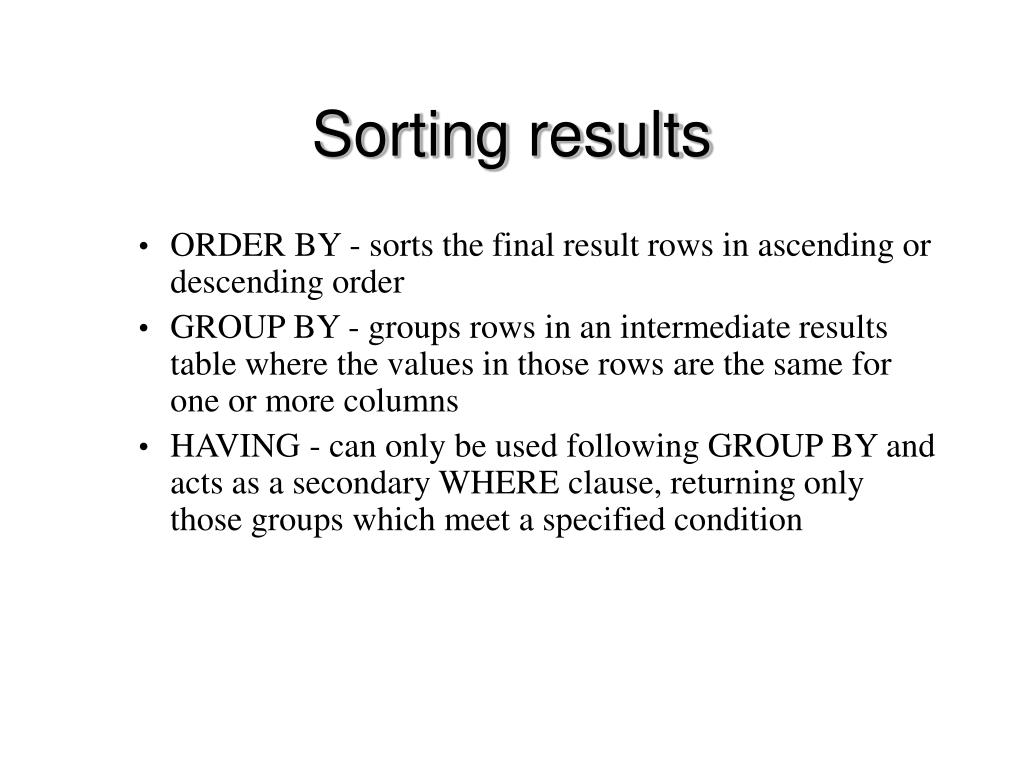 Sorting results