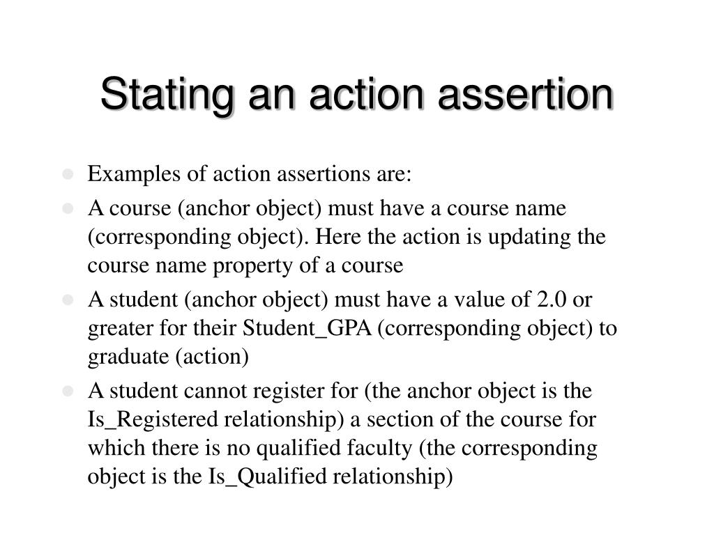 Stating an action assertion