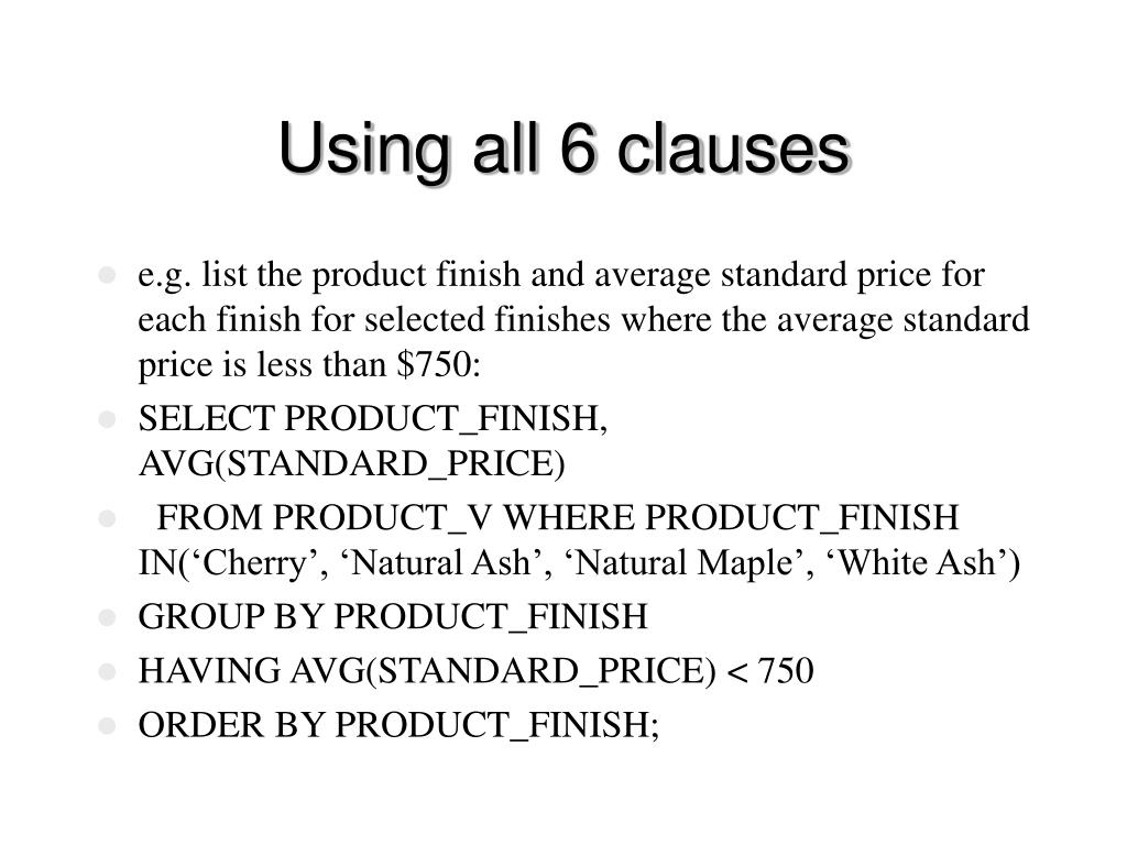 Using all 6 clauses