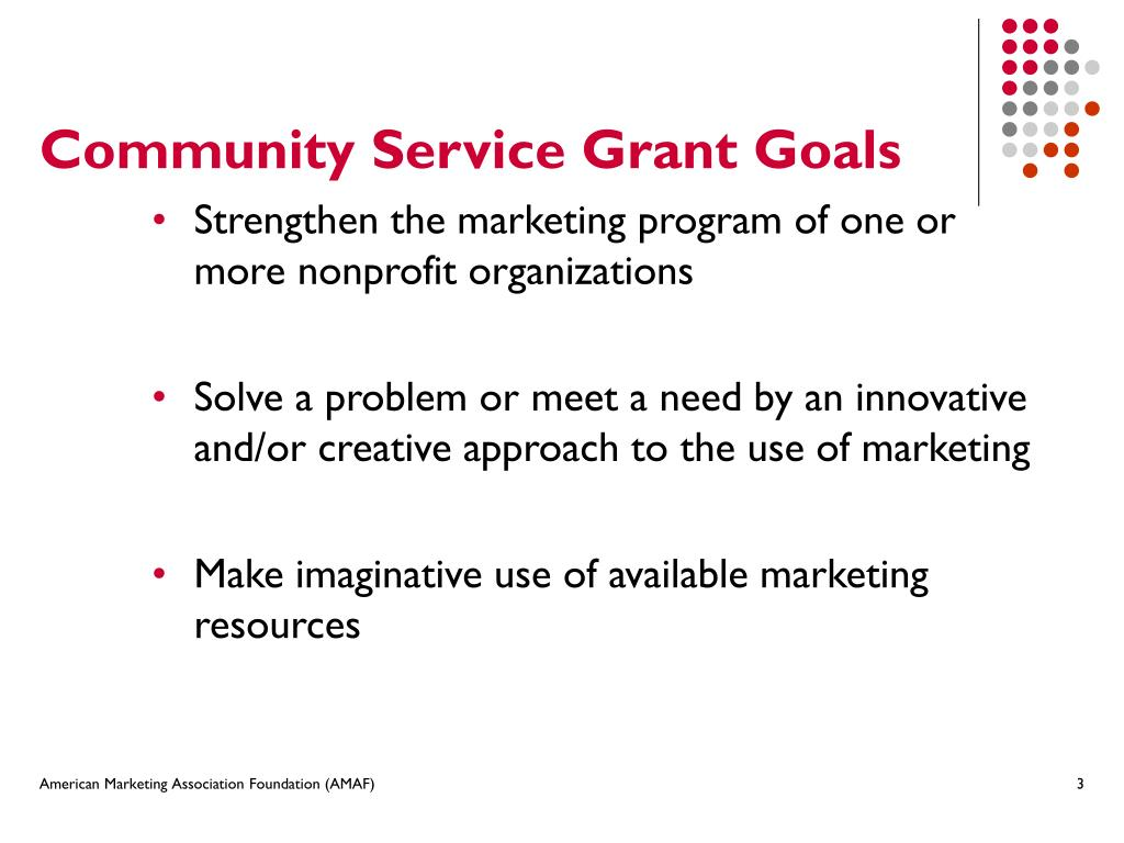 Community Service Grant Goals