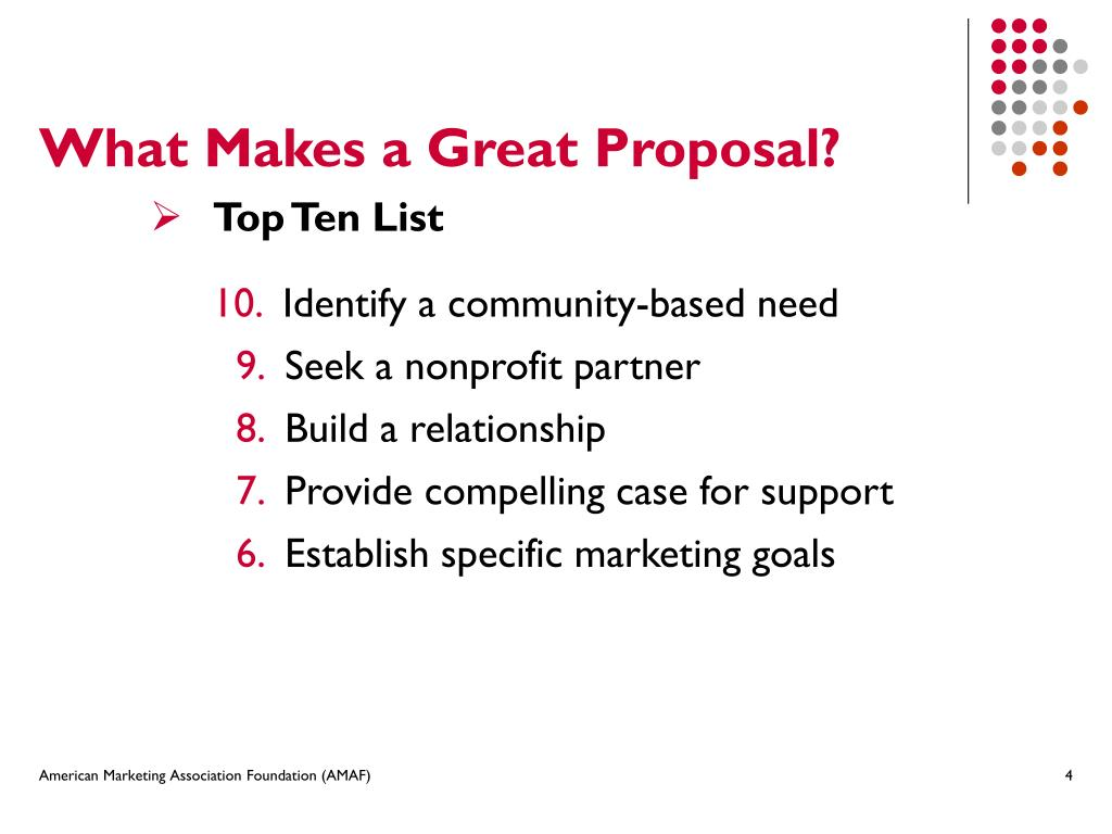 What Makes a Great Proposal?