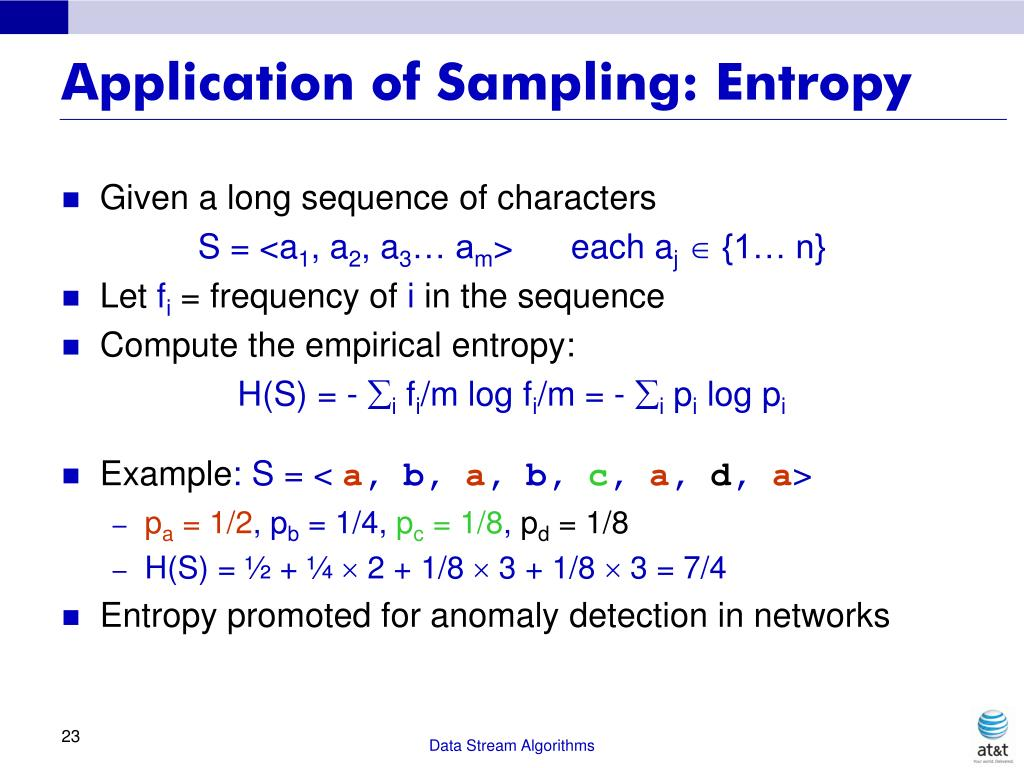 Application of Sampling: Entropy