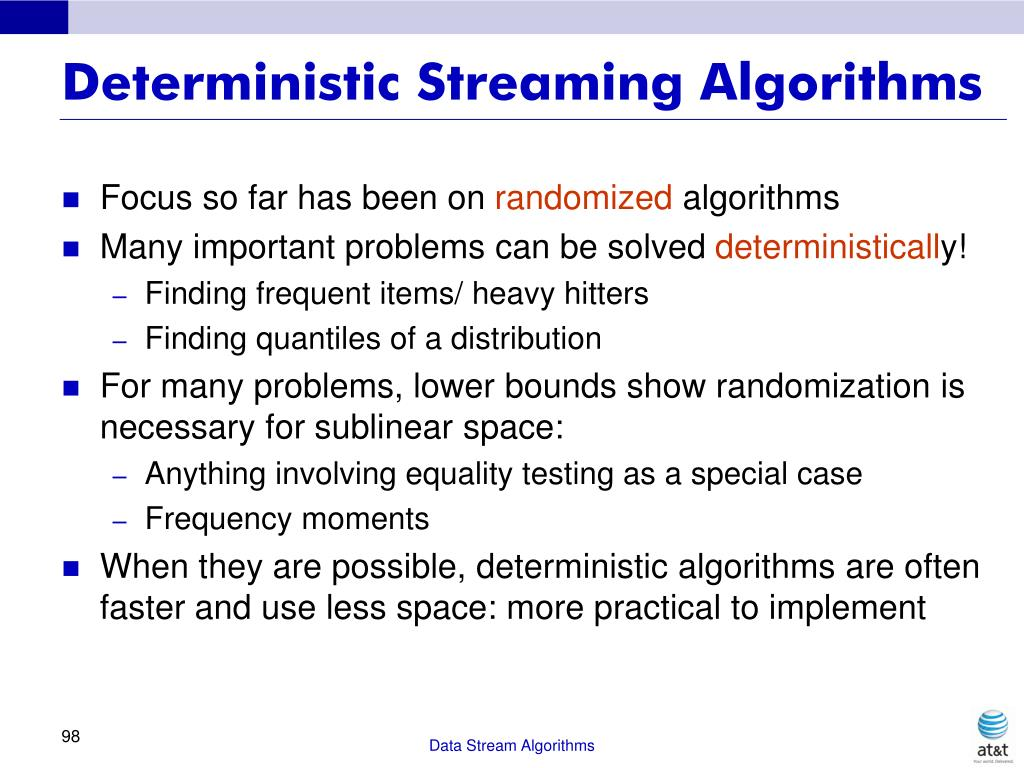 Deterministic Streaming Algorithms