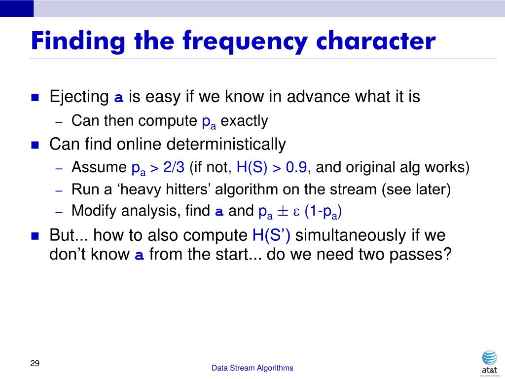 Finding the frequency character