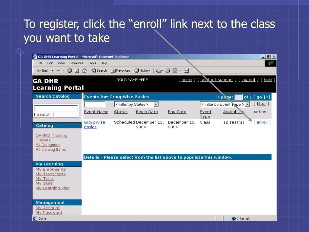 """To register, click the """"enroll"""" link next to the class you want to take"""
