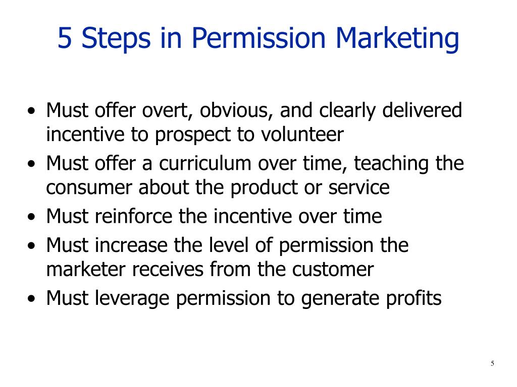5 Steps in Permission Marketing