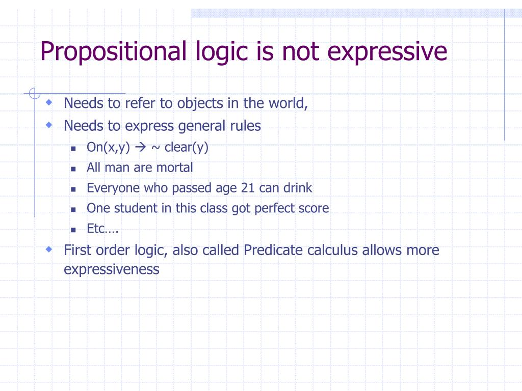 Propositional logic is not expressive
