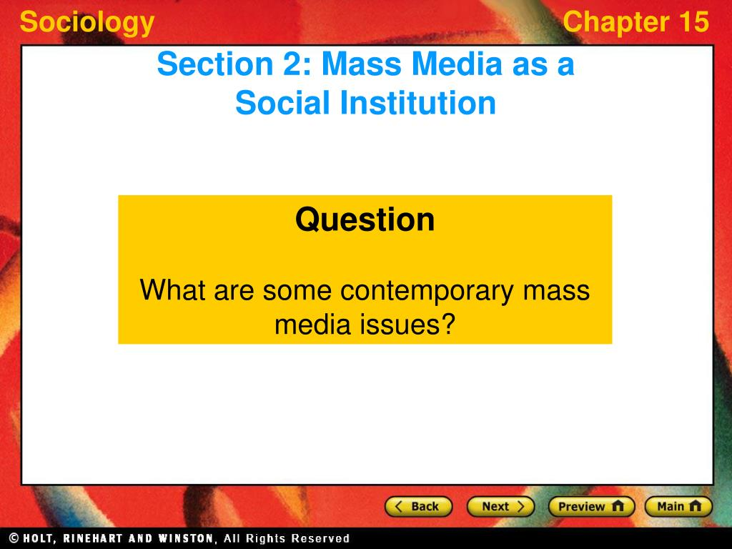 Section 2: Mass Media as a