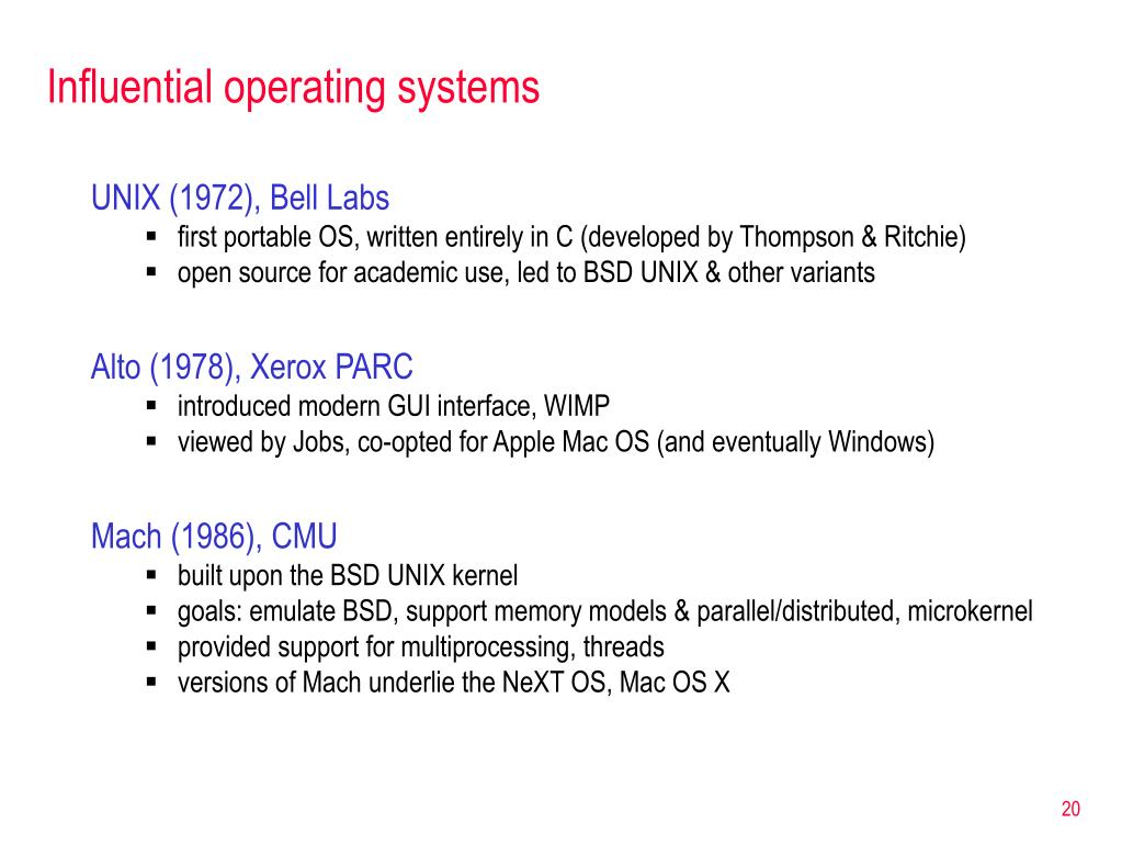 Influential operating systems