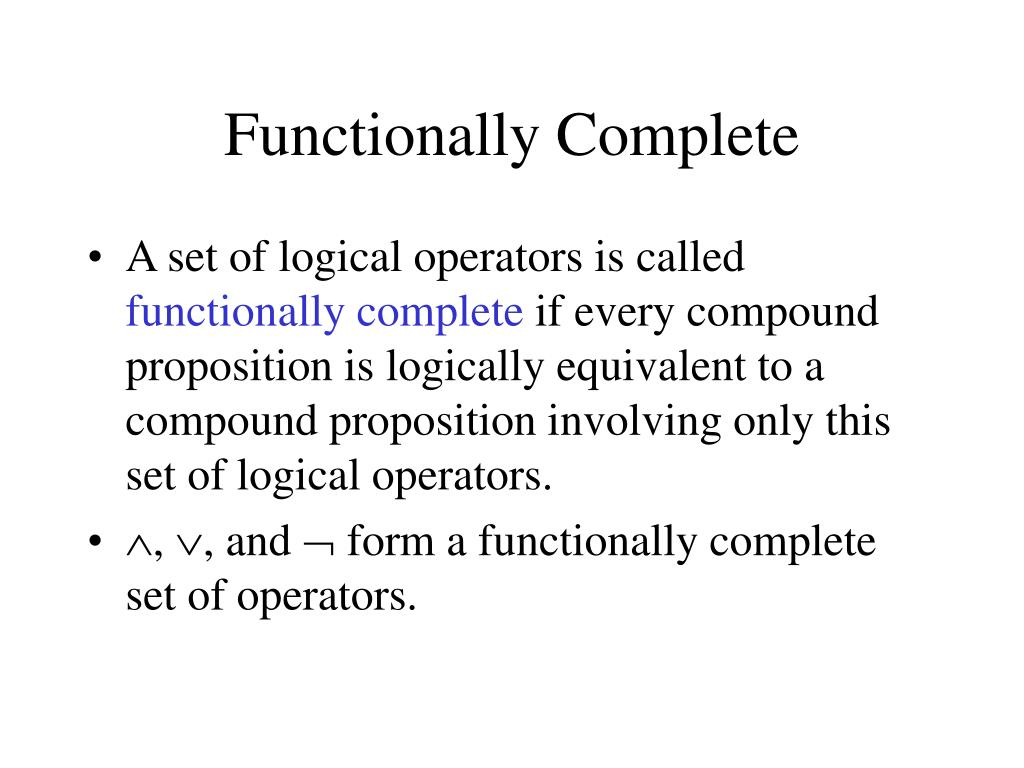Functionally Complete