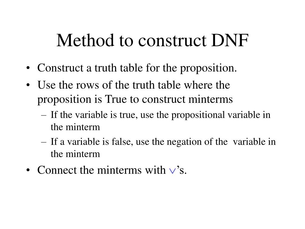 Method to construct DNF