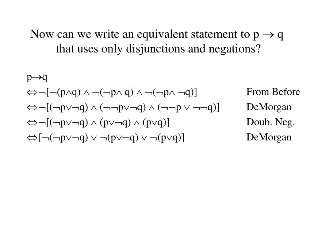 Now can we write an equivalent statement to