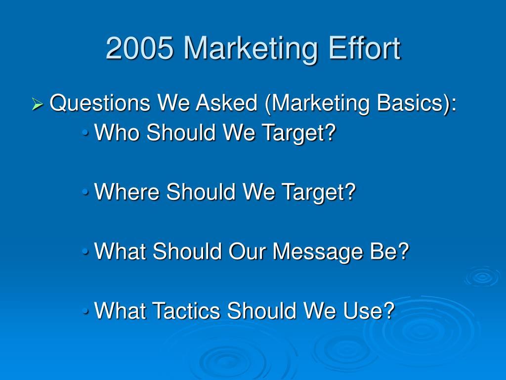 2005 Marketing Effort