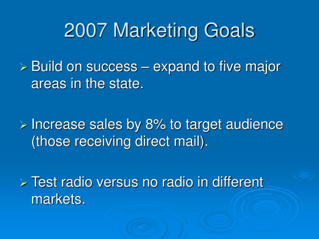2007 Marketing Goals