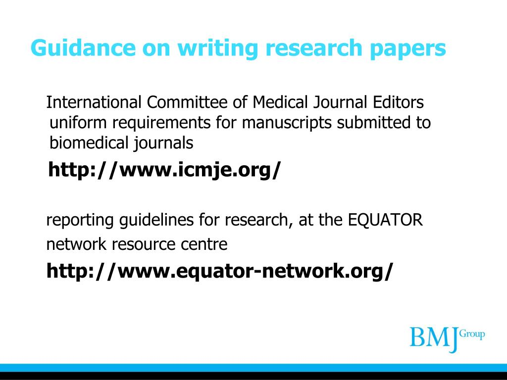 Guidance on writing research papers