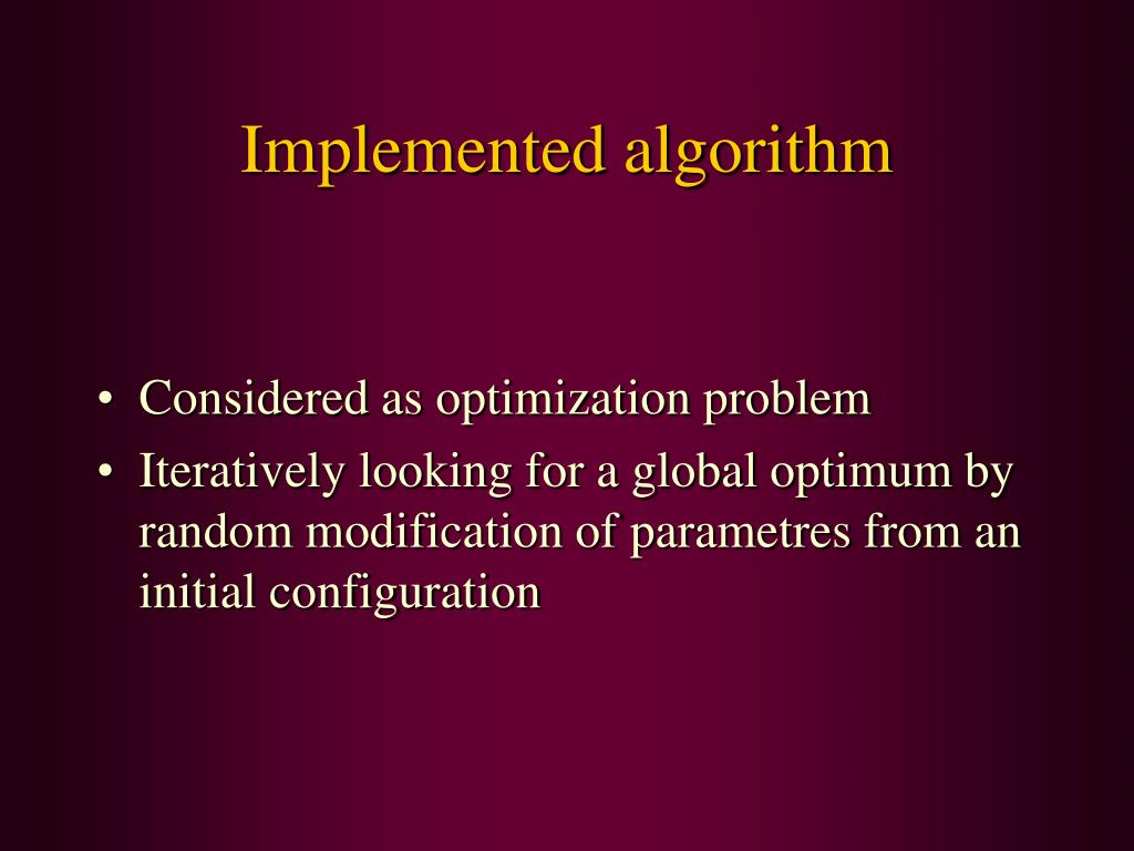 Implemented algorithm