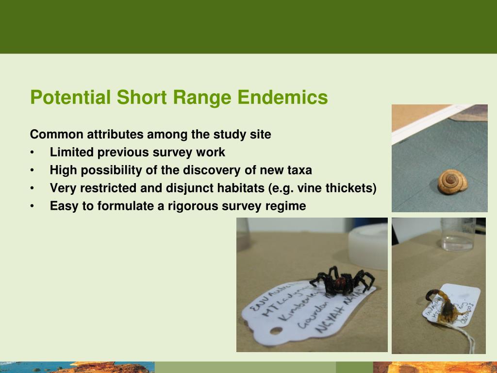 Potential Short Range Endemics