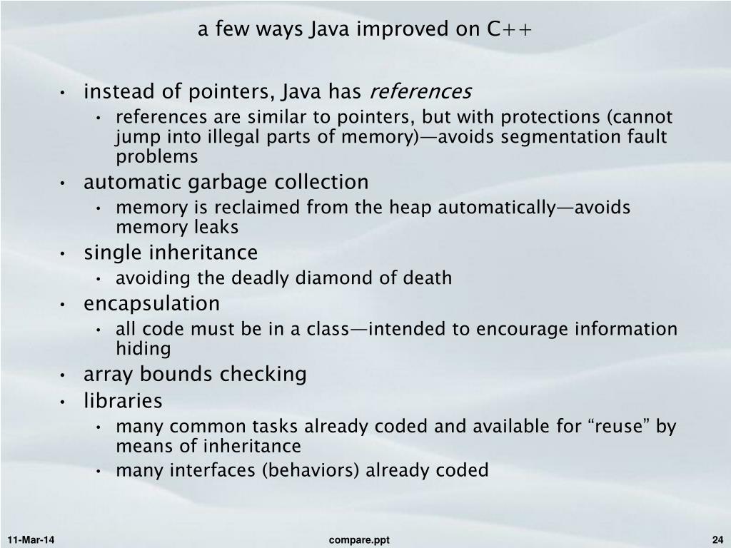 a few ways Java improved on C++