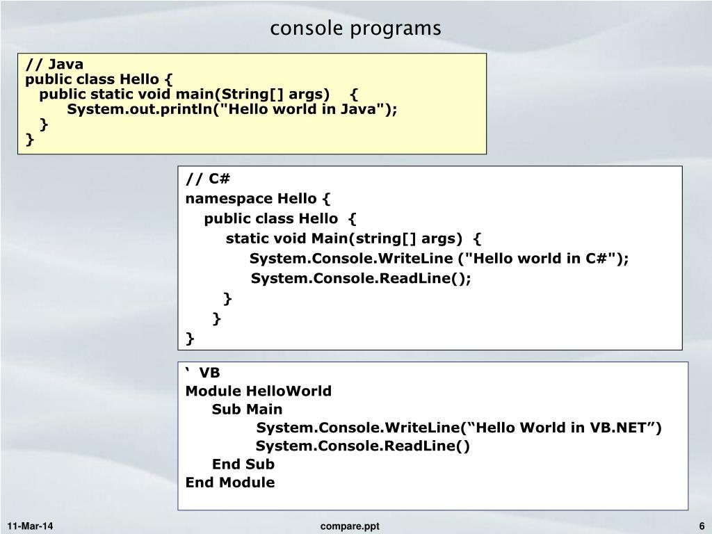 console programs