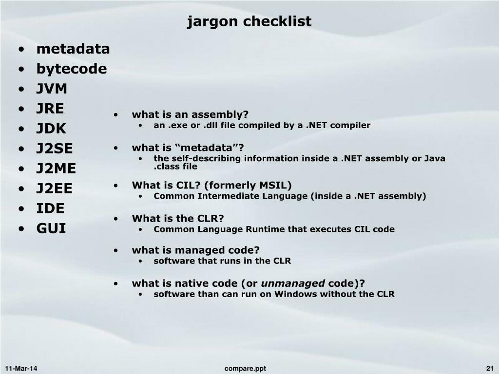 jargon checklist