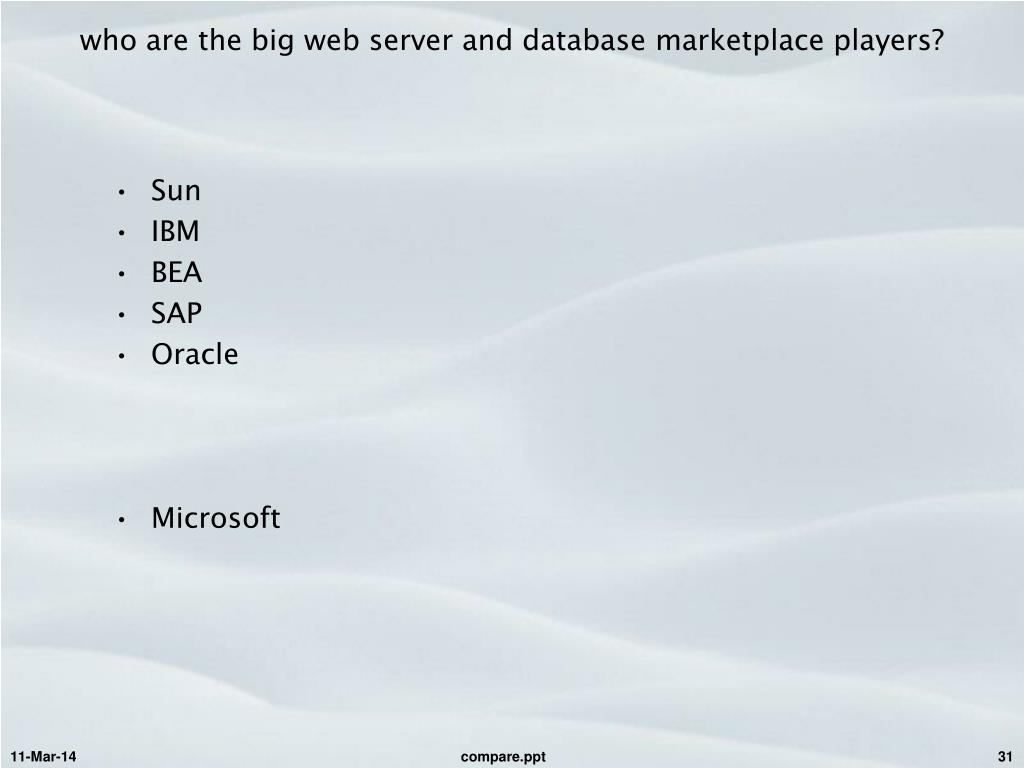 who are the big web server and database marketplace players?