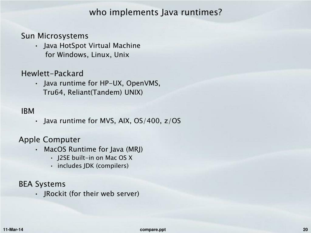 who implements Java runtimes?