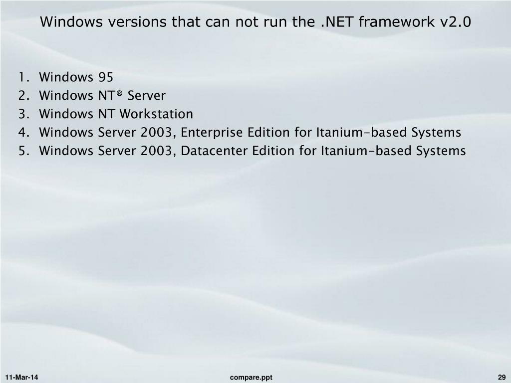 Windows versions that can not run the .NET framework v2.0