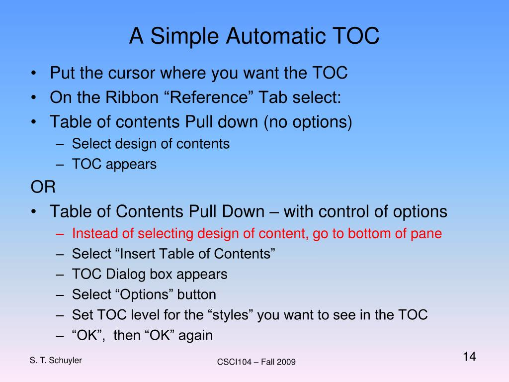 A Simple Automatic TOC