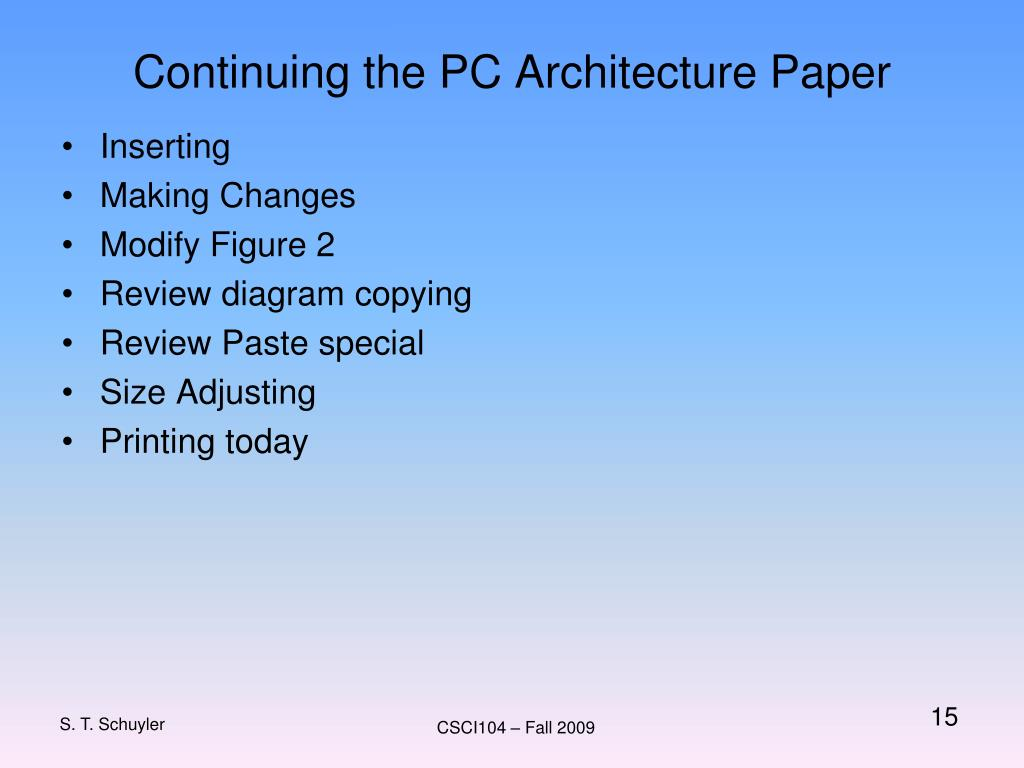 Continuing the PC Architecture Paper