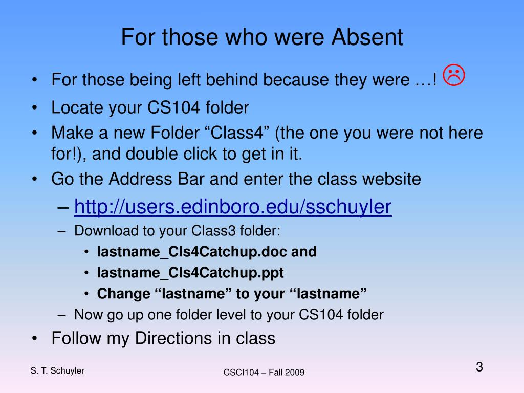For those who were Absent