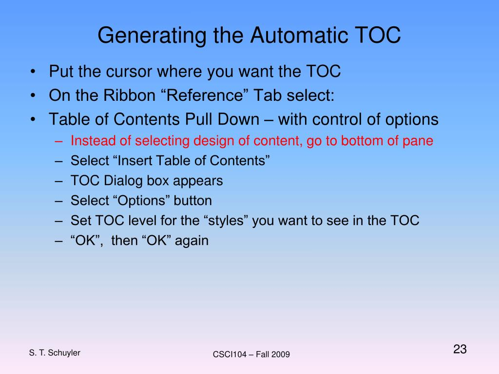 Generating the Automatic TOC