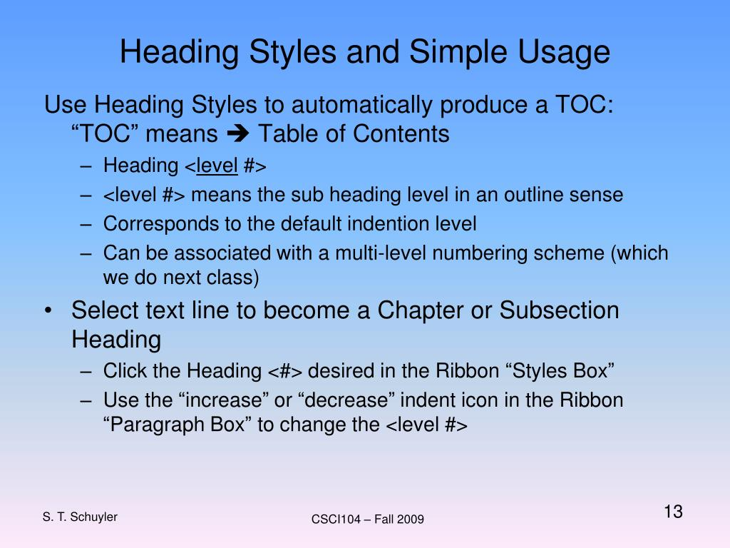 Heading Styles and Simple Usage