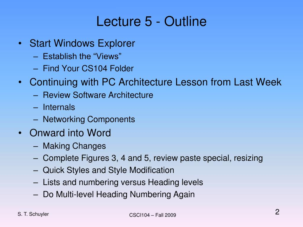 Lecture 5 - Outline