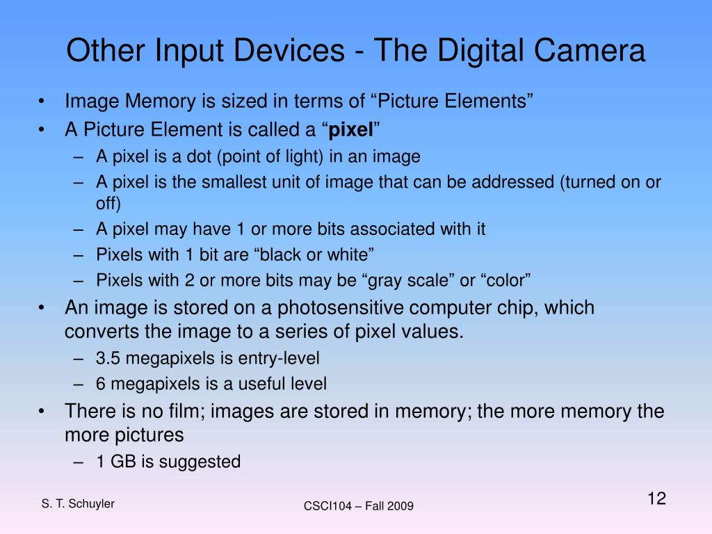 Other Input Devices - The Digital Camera