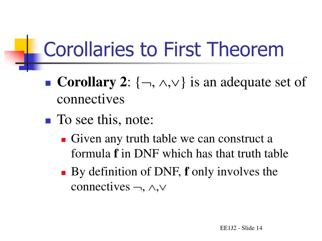 Corollaries to First Theorem