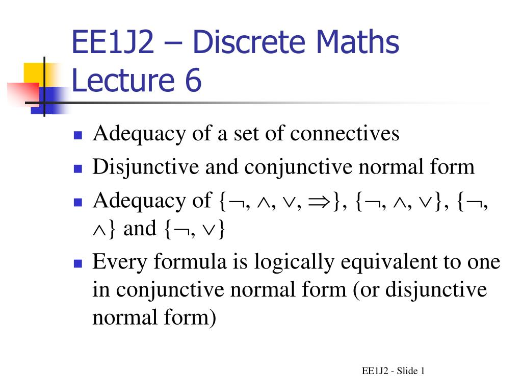 EE1J2 – Discrete Maths Lecture 6