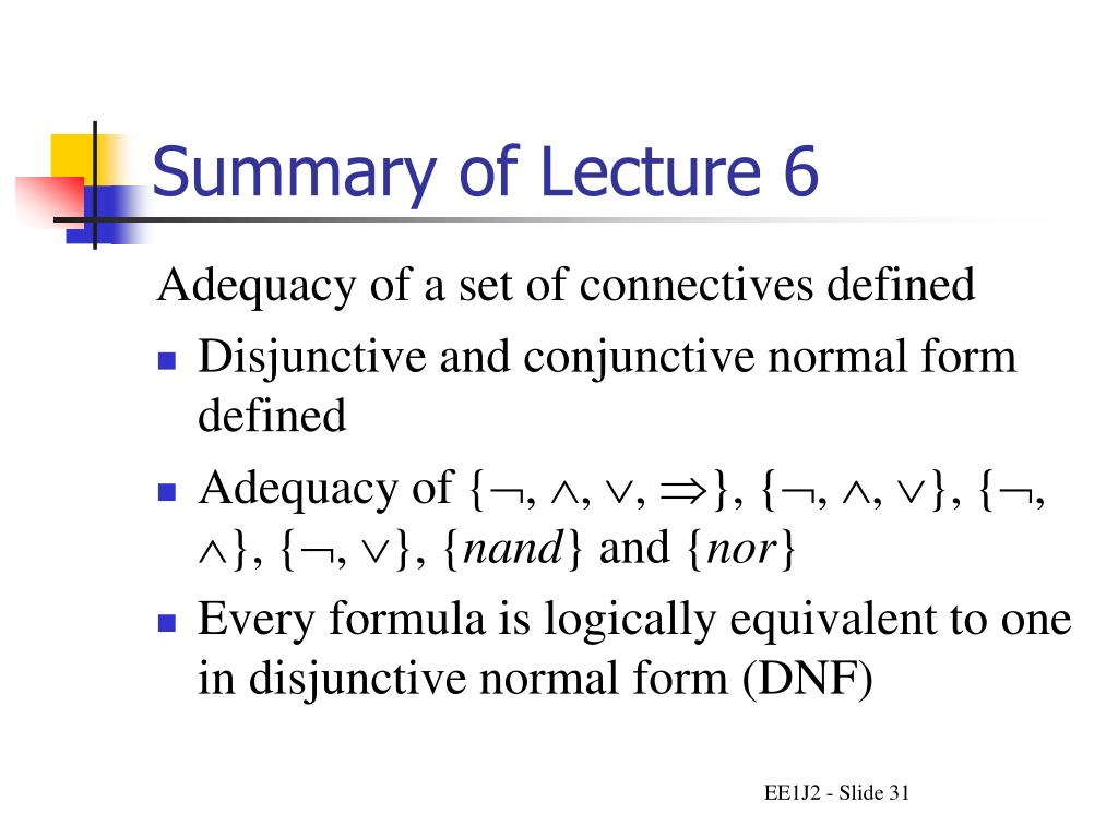 Summary of Lecture 6