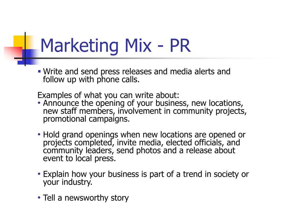 Marketing Mix - PR