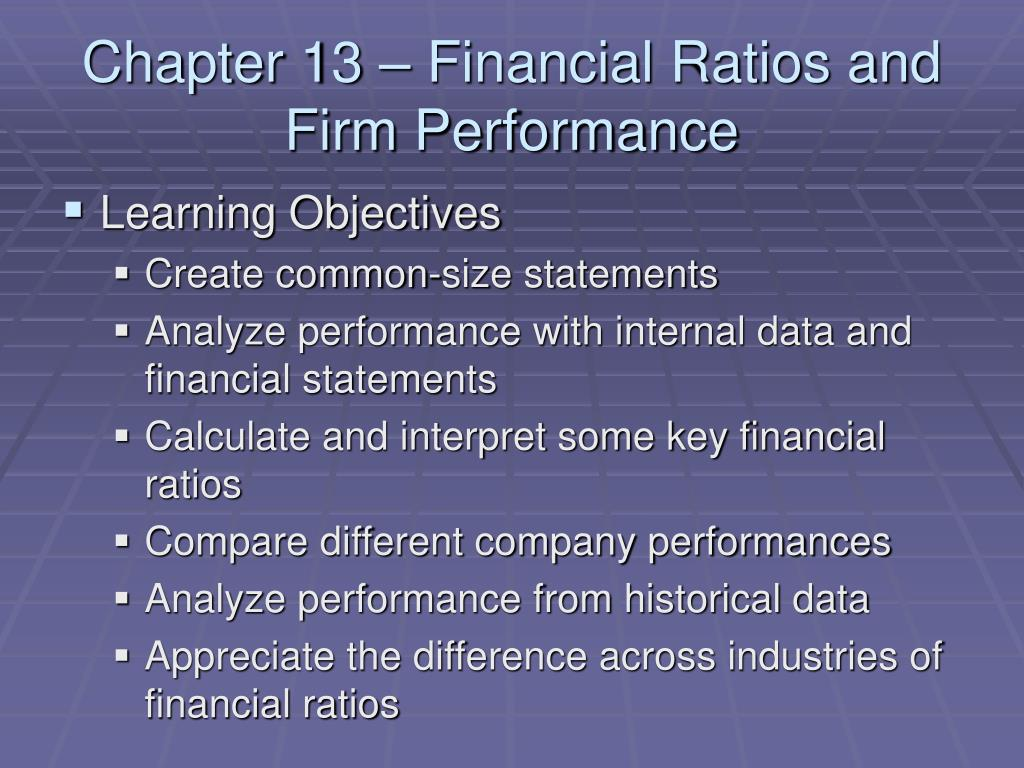 Chapter 13 – Financial Ratios and Firm Performance