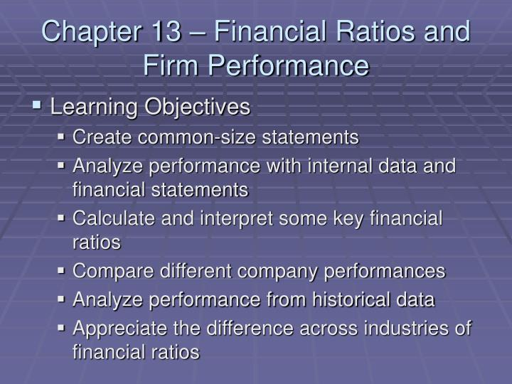Chapter 13 financial ratios and firm performance